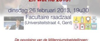 Lezing: &#8220;UN Millenium Development Goals&#8230; En wat na 2015?&#8221; met Prof. Dries Lesage